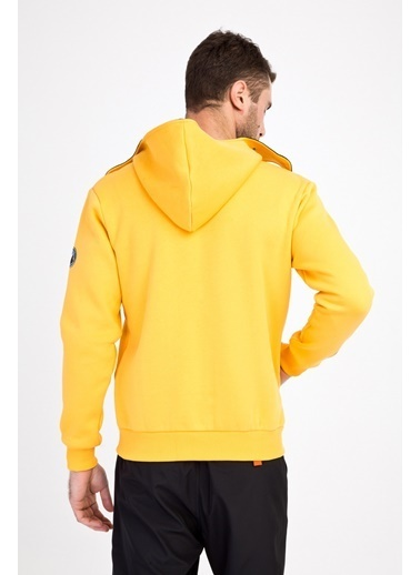 Kiğılı Kapüşonlu Asimetrik Sweatshirt Sarı